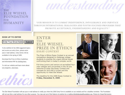 elie wiesel essay contest Business ethics magazine is delighted to once again publish winning essays by the top finishers in the elie wiesel foundation prize in ethics essay contest the contest is an annual.
